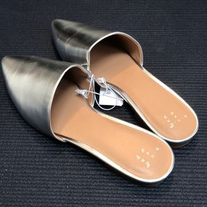 NWT metallic backless loafers